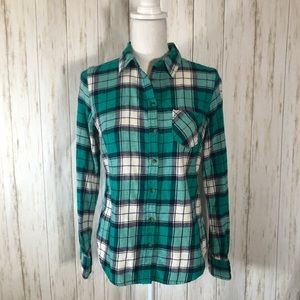 Merona cotton teal and white plaid shirt